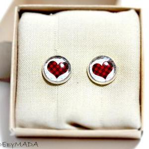 Checkered heart stud Earrings