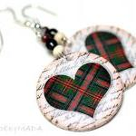 Plaid Hearts dangle Earrings Christ..