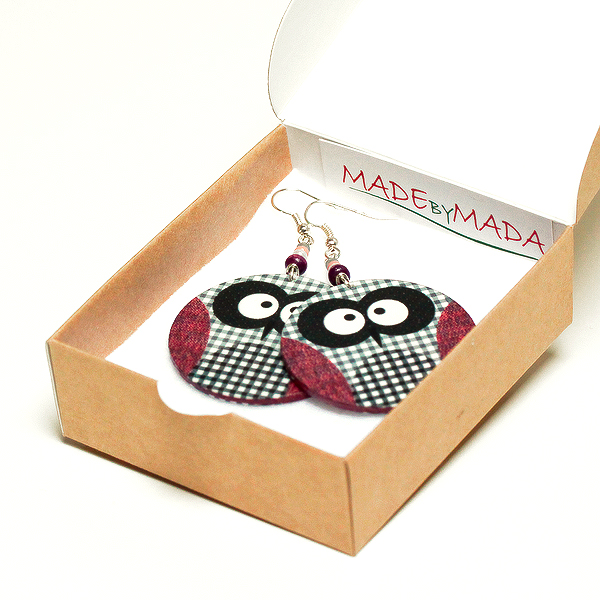 Checkered Owl dangle Round decoupage earrings grey and light plum pink