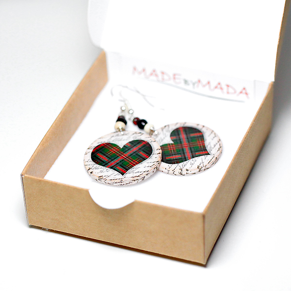 Plaid Hearts dangle Earrings Christmas Jewelry red green- decoupage earrings - double faced - size 3cm Ø
